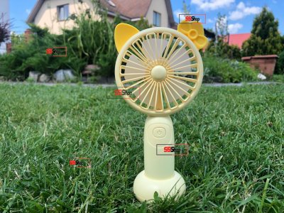 Портативний акумуляторний міні вентилятор з вушками і RGB підсвіткою Mini Fan (SQ-2165) Жовтий