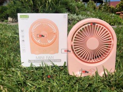 Портативний USB акумуляторний міні вентилятор з поворотним механізмом Mini Fan (DD-5576) Рожевий