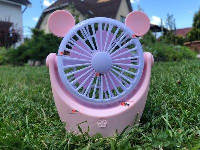 Портативний акумуляторний міні вентилятор з вушками і RGB підсвіткою Mini Fan (CS091-1) Рожевий