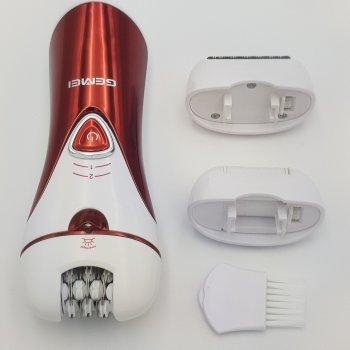 Эпилятор 3 в 1 с насадкой бритва и пемза электробритва женская Gemei GM 7002 красный