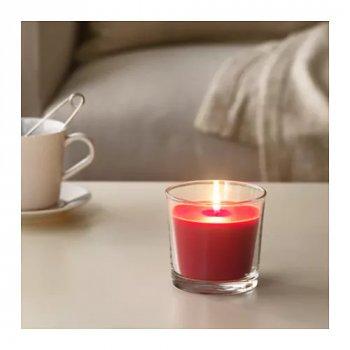 Ароматическая свеча в стакане IKEA SINNLIG ягоды 9 см Красный (303.374.06)
