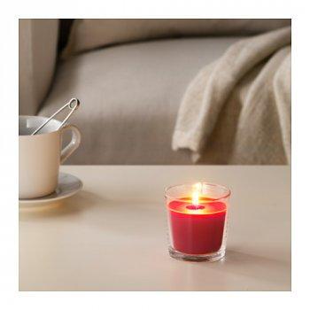 Ароматическая свеча в стакане IKEA SINNLIG 7.5 см ягоды Красный (403.373.97)