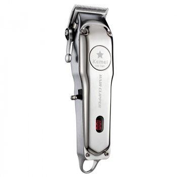 Машинка Barber Kemei KM-1996 для профессиональной стрижки с сменными насадками металлический корпус с дисплеем