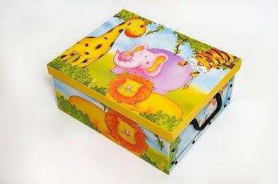 Коробка картонная с пластиковыми ручками Evoluzione 30 х 39 х 15 см Африка (Жираф Слон Лев Тигр) (525)