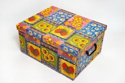 Коробка картонная с пластиковыми ручками Evoluzione 40 х 50 х 25 см Цветы и фрукты (21)