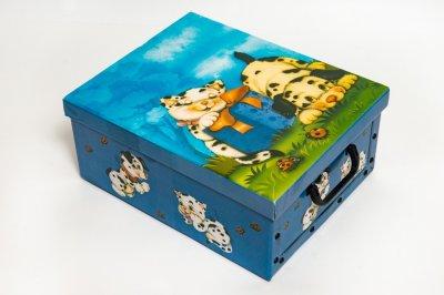Коробка картонная с пластиковыми ручками Evoluzione 30 х 39 х 15 см Котенок и Собачка (32)