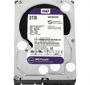 Жорсткий диск 3.5' 3Tb Western Digital Purple SATA3 64Mb 5400 rpm WD30PURZ