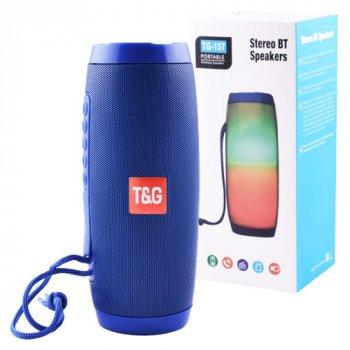 Портативная Bluetooth колонка T&G 157 Pulse с разноцветной подсветкой, громкая связь, влагостойкая. Синяя