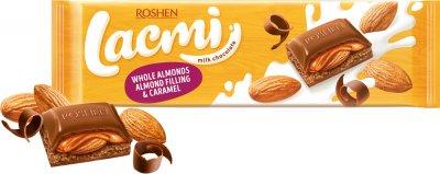 Шоколад Roshen Lacmi молочный с целым миндалем, миндальной начинкой и карамелью 300 г (4823077629532)