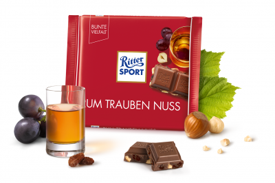 Шоколад молочний Ritter Sport з ямайським ромом, родзинками та горіхами 100 г * 5 шт
