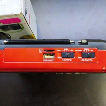 Мини-радио Golon всеволновое с фонариком Bluetooth Красное (RX-918-red)