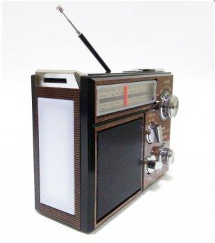 Акустична система Golon радіоприймач в ретро стилі Bluetooth колонка з радіо, USB та ліхтариком Коричневий (RX553)
