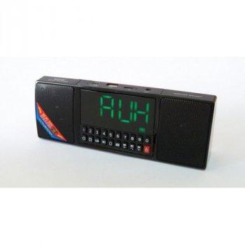 Акустична система Wster акумуляторна Bluetooth колонка настільні годинники з радіо і будильником Чорна (WS-1515)