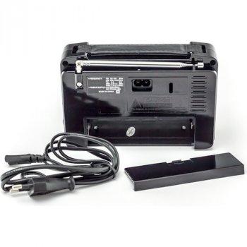 Акустична система Golon радіоприймач акумуляторний FM радіо колонка з ліхтариком та USB виходом Чорний (RX-607)