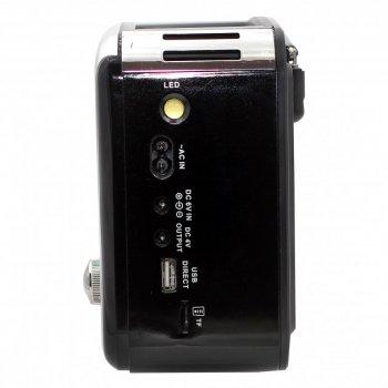 Акустическая система Golon радиоприемник колонка радио на аккумуляторе в ретро стиле с солнечной панелью и фонариком с подсветкой Чёрный (RX-456)