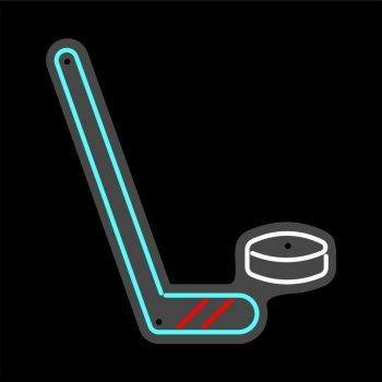 Неонова вивіска «Хокей 1 ключка»
