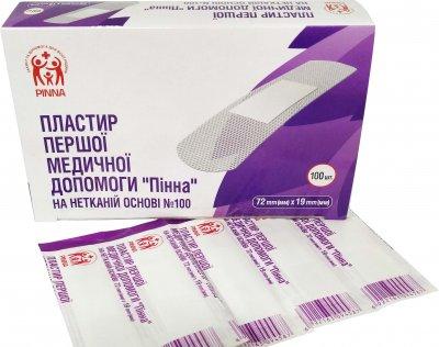 Пластырь первой медицинской помощи Pinna на нетканой основе 72 мм х 19 мм 100 шт (6922163094419)
