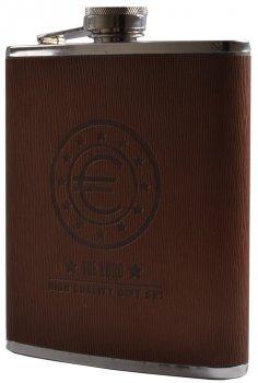 Фляга 531 мл Euro 18 Brown, Кожа, Нержавеющая Сталь