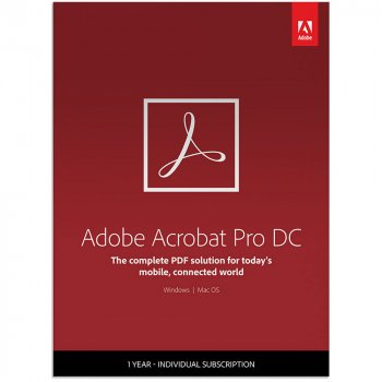 Adobe Acrobat Pro DC for enterprise. Ліцензія для комерційних організацій, річна передплата на одного користувача в межах замовлення від 1 до 9 (65271311BA01A12)