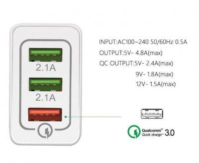 Быстрая зарядка Зарядное устройство 2.0, QC 3.0