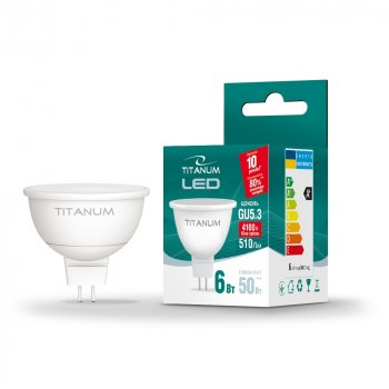 LED лампа TITANUM MR16 6W GU5.3 3000K 220V (ТL-MR16-06533)