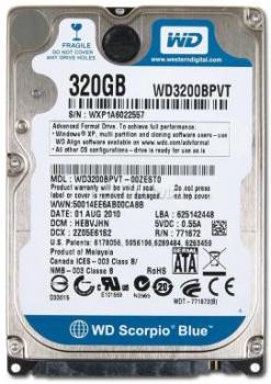 "Жорсткий диск Western Digital 320ГБ 5400об/м 8МБ 2.5"" SATA II (WD3200BPVT) New"