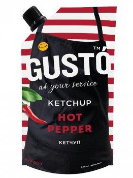 Упаковка кетчупа GUSTO Hot pepper 250г *20шт