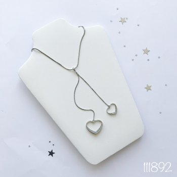 """Подвеска Miss Odri """"Silver heart"""" женская серебряная с сердечками + подарочная упаковка"""