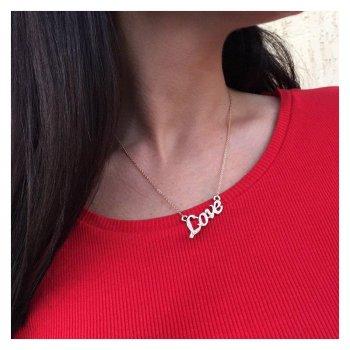 """Подвеска Miss Odri """"Love"""" женская золотистая + подарочная упаковка"""