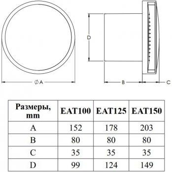 Вытяжной вентилятор EUROPLAST E-Extra EAT100TG