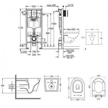 Комплект інсталяція 5 в 1 Grohe Rapid SL 38827000 і унітаз з сидінням Qtap Swan QT16335178W (SD00038243)