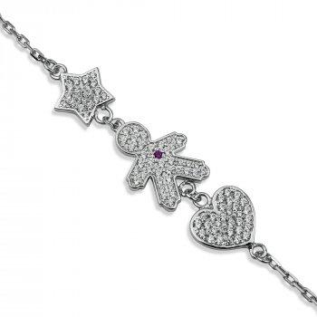 """Серебряный браслет для мамы """"Любимый сыночек"""" размер 16,5 проба 925 [Black-Pearl]"""