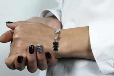 """Серебряный браслет для мамы """"Девочка-звезда"""" размер 17,5 проба 925 [Black-Pearl]"""