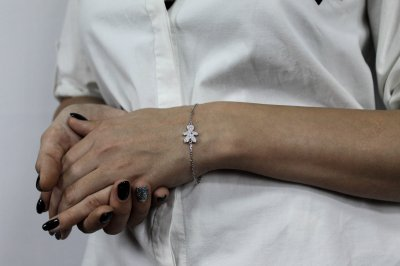 """Серебряный браслет для мамы """"Заботливая мама"""" размер 16,5 проба 925 [Black-Pearl]"""