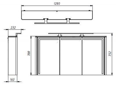 Зеркальный шкаф BOTTICELLI Levanto LVM-128 серый