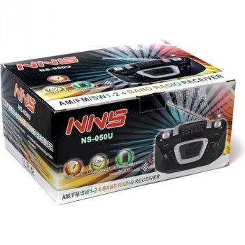 Радіоприймач Магнітофон Бумбокс Колонка з пультом ДУ NNS NS-050U Black