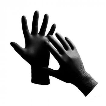 Рукавички Nitrylex basic black медичні нестерильні нітрилові без пудри Розмір M 100шт в упаковці Чорні