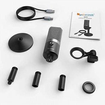 Мікрофон конденсаторний Fifine K670 USB для запису на Mac і Windows з регулятором гучності + підставка Чорний