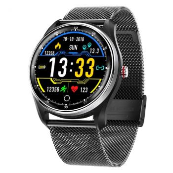 Смарт-годинник Smart MX9 з металевим браслетом + силіконовий ремінець у подарунок + пульсометр, тонометр і ЕКГ Чорний