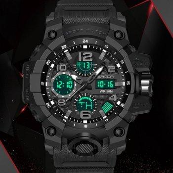 Часы мужские Sanda Power с секундомером и будильником + подсветка Черный