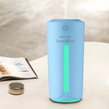 Увлажнитель воздуха ночник 2 в 1 ультразвуковой Color Cup Humidifier USB 230 мл диффузер ароматизатор с подсветкой 7 цветов Голубой