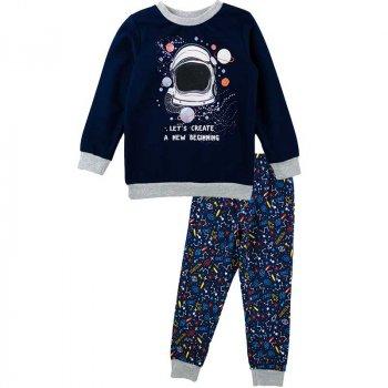 Пижама теплая для мальчика SMIL 104670 темно-синий (4443)