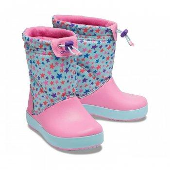 Детские зимние сапоги Crocs Kids' LodgePoint Boot Розовые звездочки
