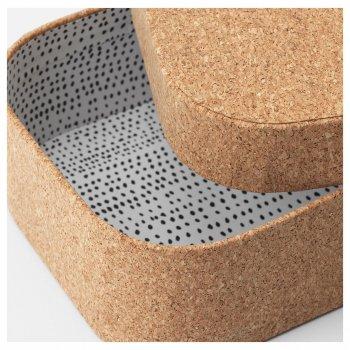 Набір коробок з кришкою IKEA (ІКЕА) SAMMANHANG 3 шт коркове дерево (404.137.39)