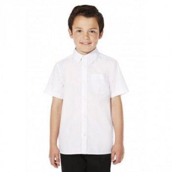 Белая рубашка George, покрой Slim Fit, с коротким рукавом, для мальчика