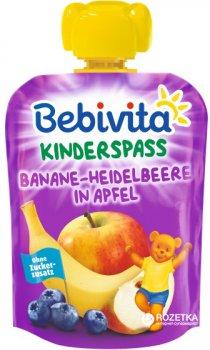 Упаковка фруктового пюре Bebivita Банан-чорниця-яблуко з 12 місяців 90 г х 16 шт. (4018852017318)
