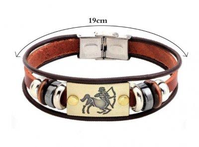 Кожаный браслет Primo Zodiac Sagittarius (Стрелец) Primo коричневый