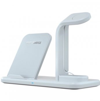 Беспроводное зарядное устройство док-станция 3 в 1 Barch Wireless Fast Charger + Apple Watch + AirPods Wight