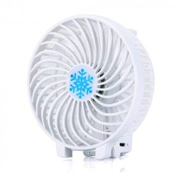 Вентилятор ручної акумуляторний міні з ручкою USB діаметр 10см Handy Mini Fan білий