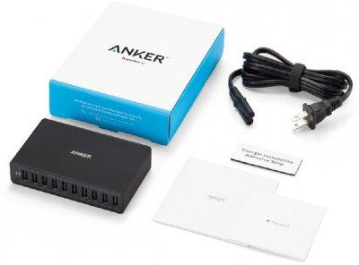 Сетевое зарядное устройство Anker PowerPort 10 60W 10-port V3 Black (A2133L11)